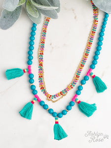Layered Necklace with Turquoise Tassels