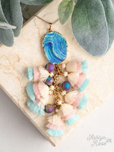Ocean Blue Pendant Necklace with Tassels