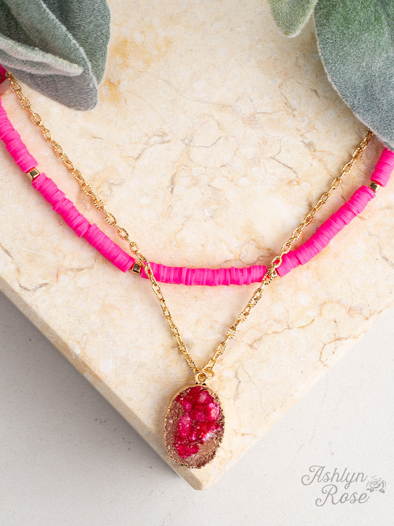 All Summer Long Necklace, Neon Pink