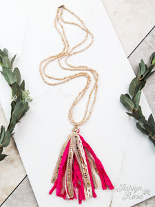 Tassel Necklace, Pink
