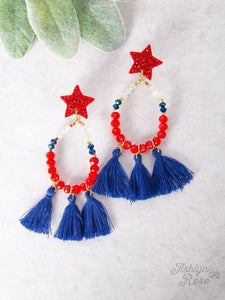 Red White and Blue Tassel Teardrop Earrings