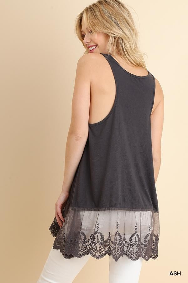Lace Hemline Tank Top, Ash