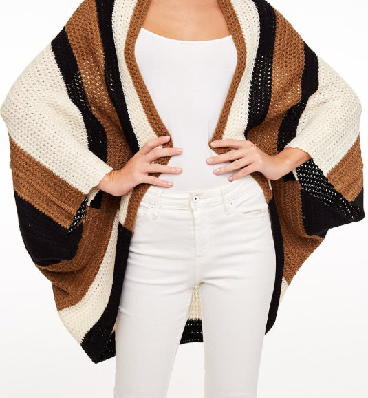 Cocoon Cardigan, Black & Brown