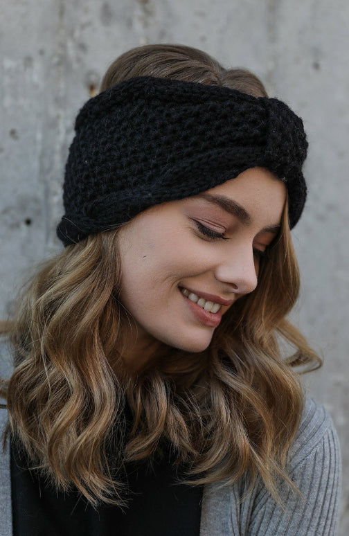Rolled Bow Knit Headwrap, Black