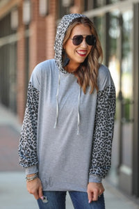Leopard Color Block Hoodie, Grey