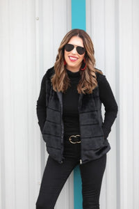 Faux Fur Vest, Black