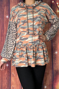 Camo and Leopard Balloon Sleeve Hoodie
