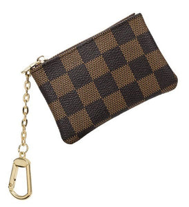 Coin Purse Keychain, Brown Checkered