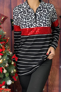 Leopard Stripe Pullover with Red Sequins