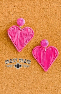 Heart Earrings, Pink