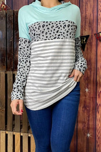 Leopard and Stripe Hoodie, Blue