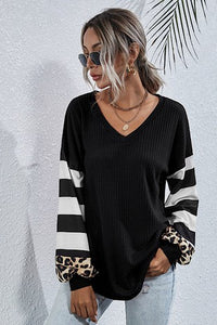 Long Sleeve Top Leopard and Stripes, Black