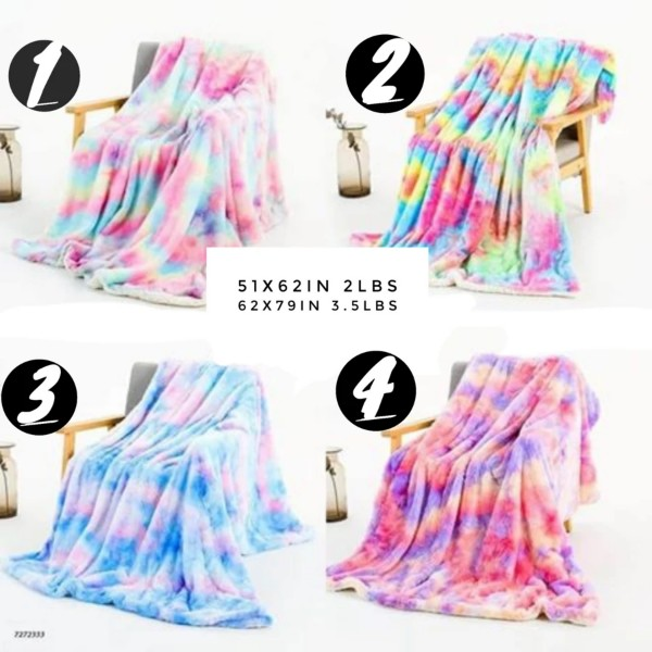 Plush Faux Fur Blanket, Tie Dye