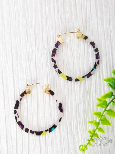 Multi Color Leopard Hoop Earrings
