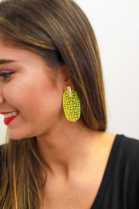 Detailed Drop Earrings, Yellow