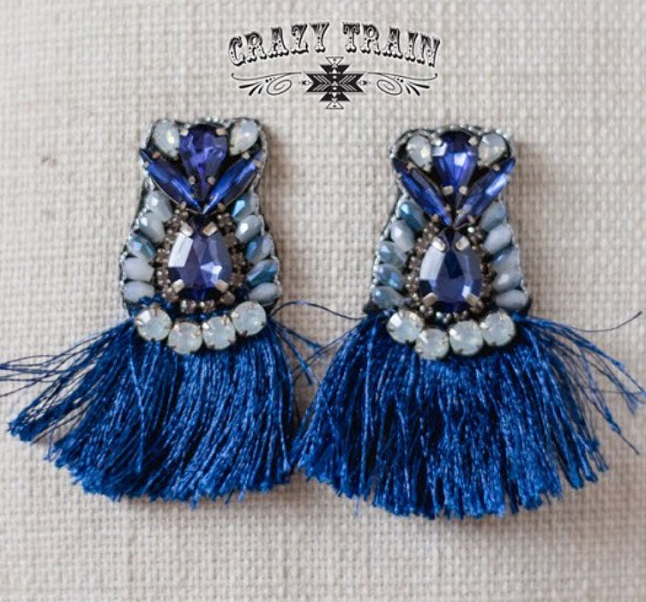 Bluebird Fringe Earrings, Navy