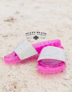 Cinderella Slide Sandals, Hot Pink
