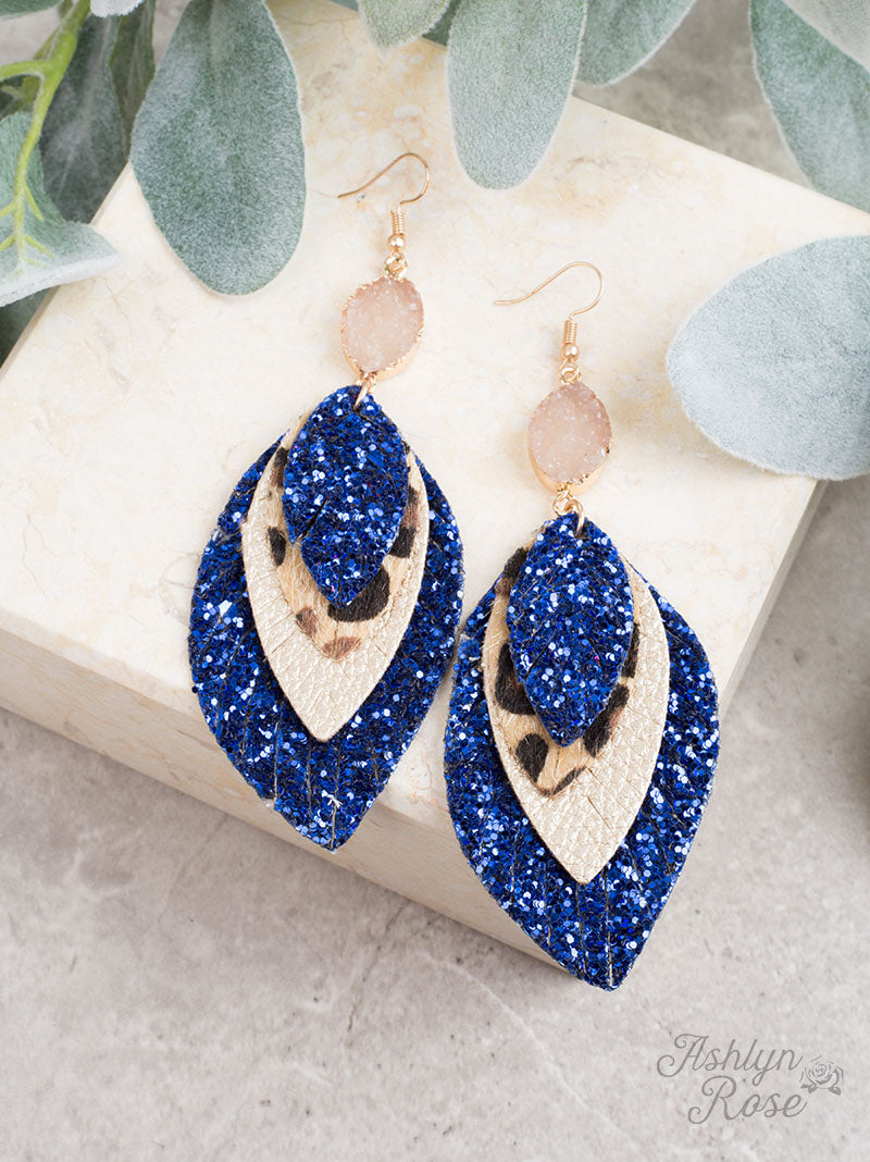 Perfect Trio Earrings, Royal Blue