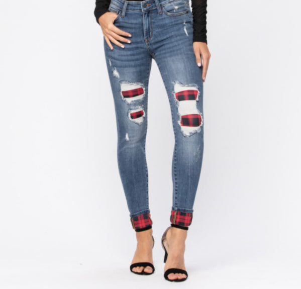 Judy Blue Jeans with Buffalo Plaid