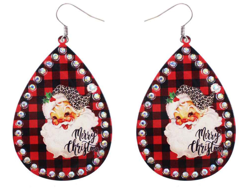 Buffalo Plaid Santa Earrings