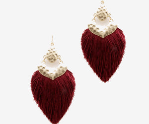 Thread Tassel Earrings, Burgundy