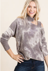 Charcoal Grey Cold Shoulder Top