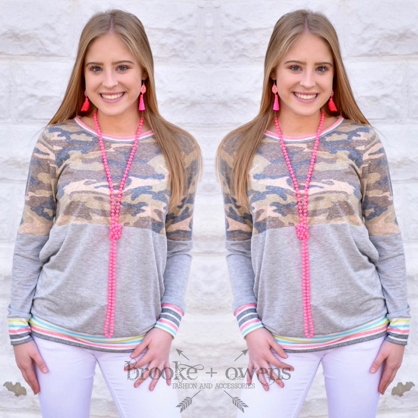 Camo Top with Neon Stripes