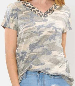Leopard and Camo V-Neck Top