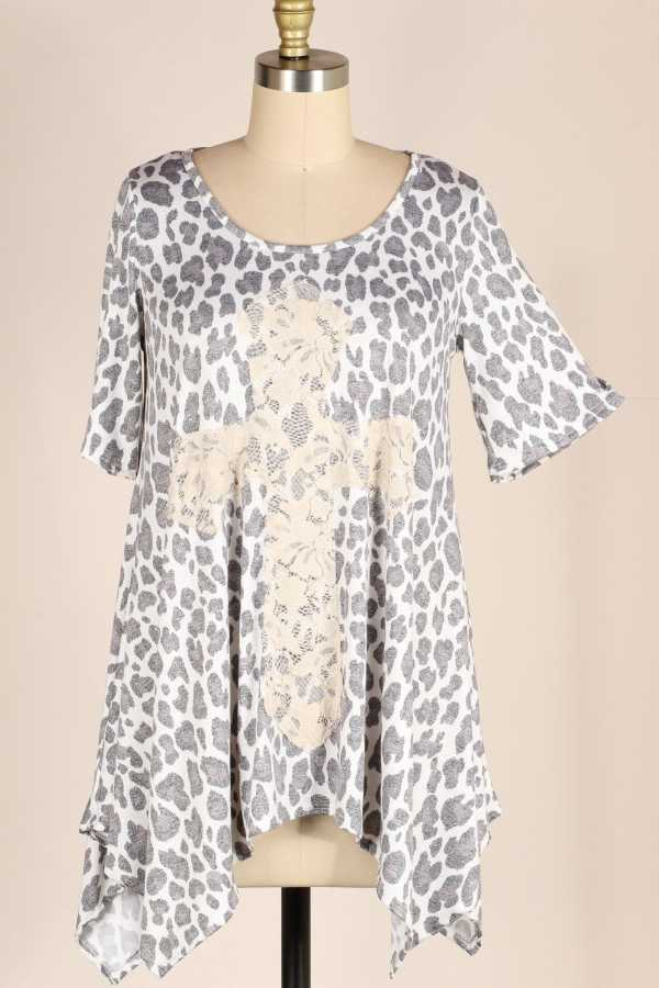 Lace Cross Leopard Tunic