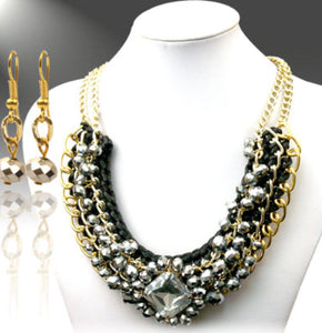 Necklace Set, Black and Grey