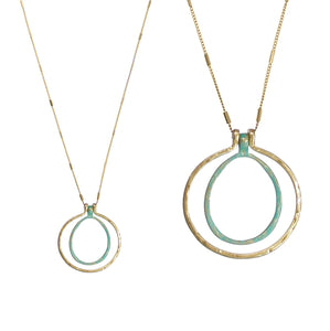 Cut Out Hammered Circle Pendant Necklace