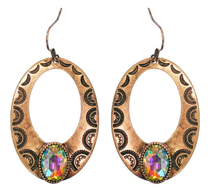 Oval Cut Out Earrings, Copper