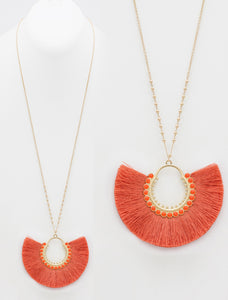 Fan Fringe Necklace, Coral