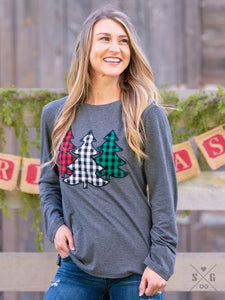 Buffalo Plaid Christmas Tree Long Sleeve Tee