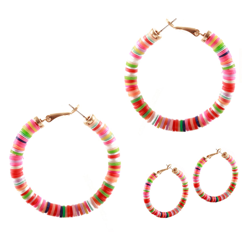 Colorful Disc Earrings, Gold