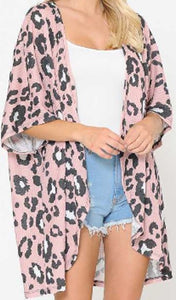 Animal Print Cardigan, Dusty Pink