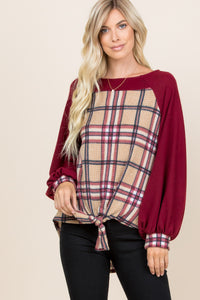 Plaid Waffle Knit Knotted Top