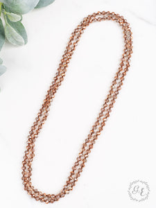Infinity Necklace, Clear Metallic Rose Gold