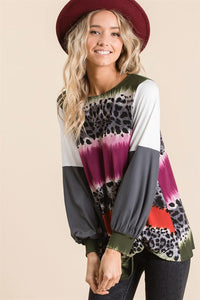 Color Block and Animal Print Balloon Sleeve Top