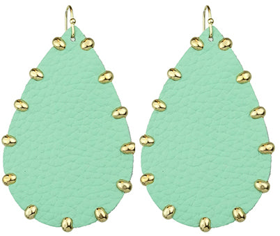 Gold Stud Leather Earrings, Mint