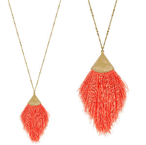 Fringe Necklace, Coral