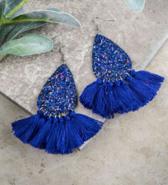 Glitter Fringe Teardrop Earrings, Blue