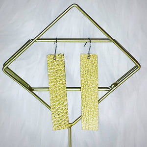 Bar Leather Earrings, Gold