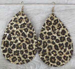 Gold Glitter Leopard Print Earrings