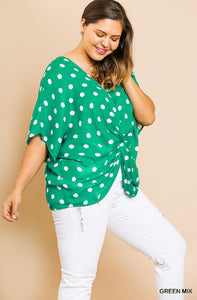 Front Knot Detail Top, Green