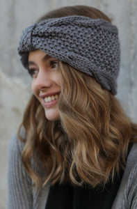 Rolled Bow Knit Headwrap, Grey