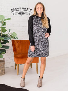 Grey and Leopard Print Dress
