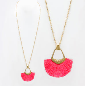 Tassel Pendant Necklace, Neon Pink