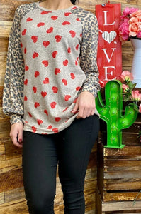 Heart Printed Top with Leopard Bubble Sleeves