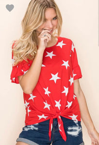 Ruffle Sleeve Star Top, Red